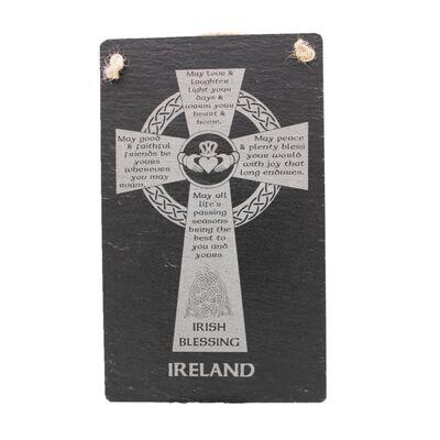 Irish Slate Rectangular Hanging Plaque With Celtic Cross Design