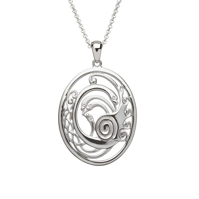 Children Of Lir Hallmarked Sterling Silver Stylized Swans Pendant