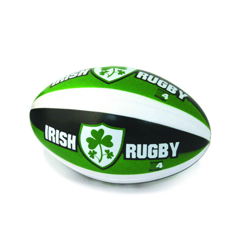 4 Mini Stress Ball With Irish Rugby And Shamrock Crest Design