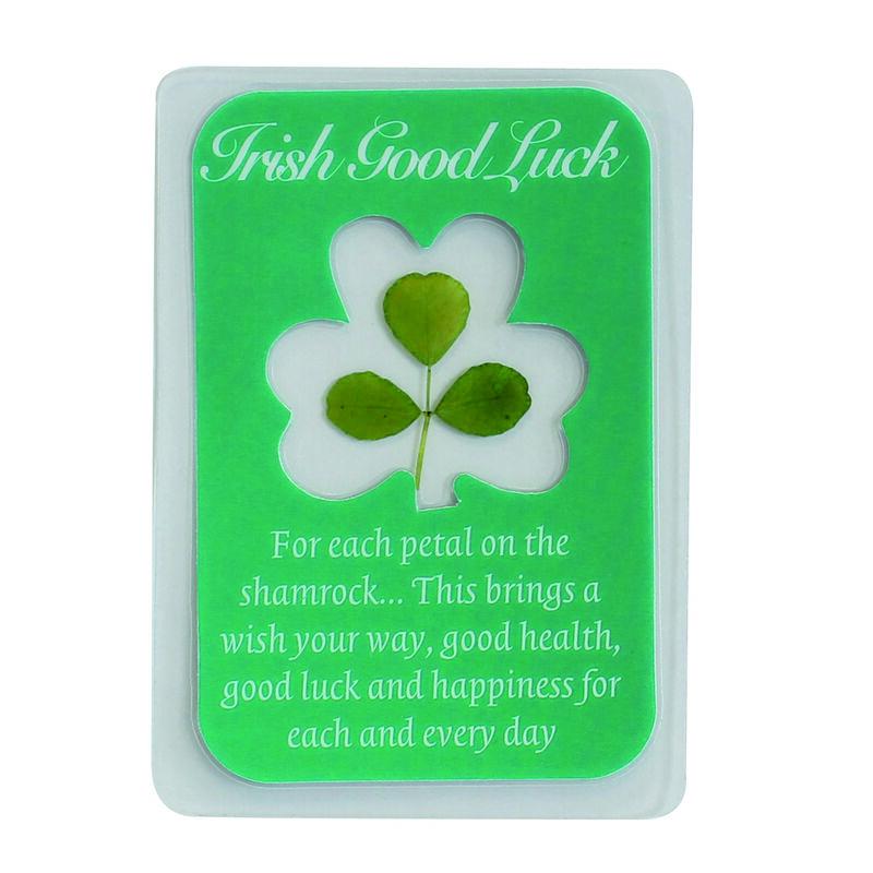 Laminated Shamrock Emblem With Irish Good Luck Message