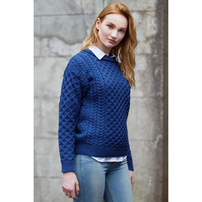 100% Merino Wool Crew Neck Traditional Sweater, Denim Colour