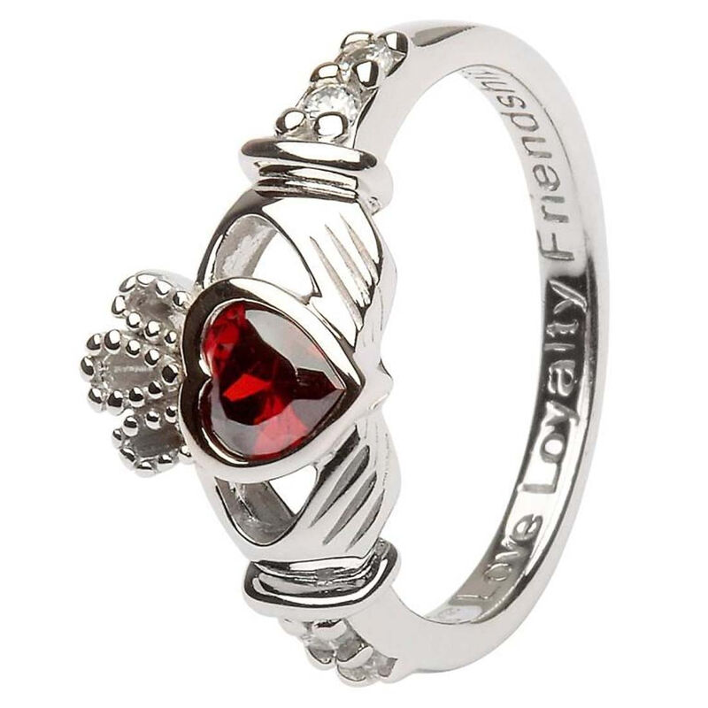 Hallmarked Sterling Silver Claddagh January Birthstone Ring