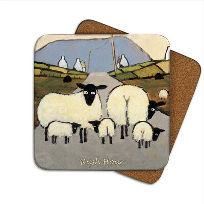 Irish Coaster With Sheep On A Country Road With The Text 'Rush Hour'