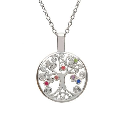 Amethyst Silver Plated Celtic Tree Of Life Pendant  Presented In A Box
