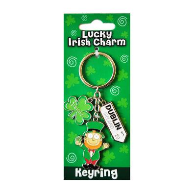 Irische Leprechaun Stil Anhänger Schlüsselbund mit Dublin Straßenschild
