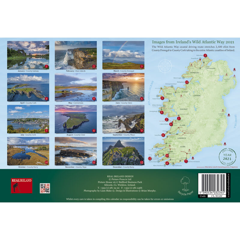 Wild Atlantic Way A4 Wall Calendar 2021 by Liam Blake