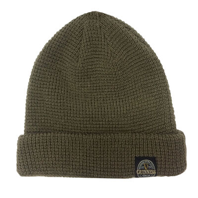 Guinness Label Knitted Beanie Turnup Hat Made By Recycled Plastic Bottles, Khaki Colour
