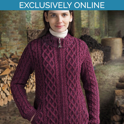 West End Knitwear Purple Colour Yeats Plated Zip Cardigan 100% Merino Wool