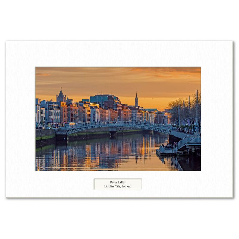 Visions Of Ireland Mounted Prints – River Liffey Sunset  Dublin