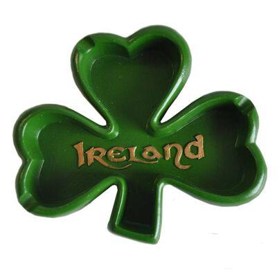 Green Irish Shamrock Designed Resin Ashtray With Ireland Text