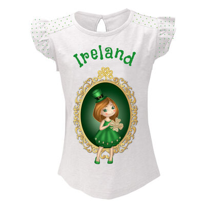 White T-Shirt With Girl Leprechaun Design And Green Ireland Text