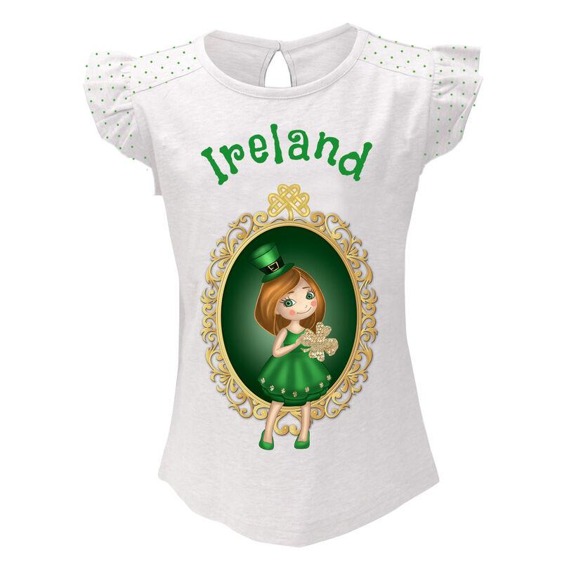 White T-Shirt With Girl Leprechaun Design And Green Ireland Text