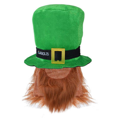 Quality Velour Green Leprechaun Top Hat With Red Beard & Hair