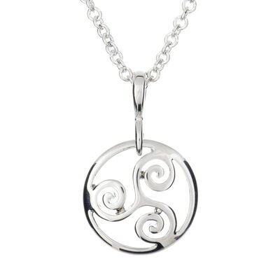 Silver Plated Carrick Silverware Triskele Circle Pendant