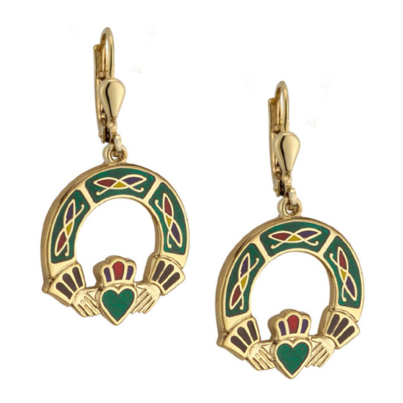 Gold Plated Claddagh Earrings