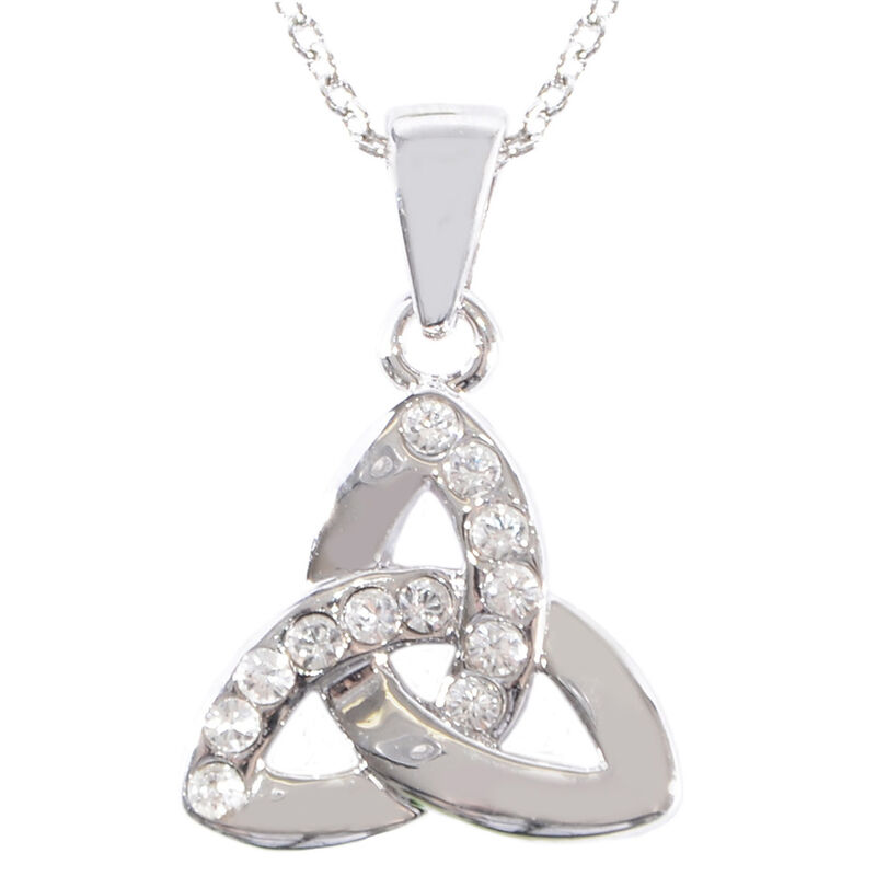Silver Plated Celtic Collection Pendant with Diamante Celtic Trinity Knot