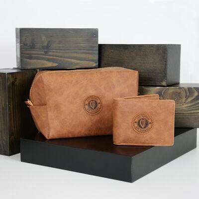 Men's Toiletry Bag & Wallet Leather Gift Set