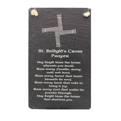 Irish Slate Rectangular Hanging Plaque With St. Bridgid'S Cross Prayer Design