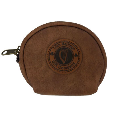 Irish Heritage Gift Company Leather Coin Purse With Brass Keyring Feature