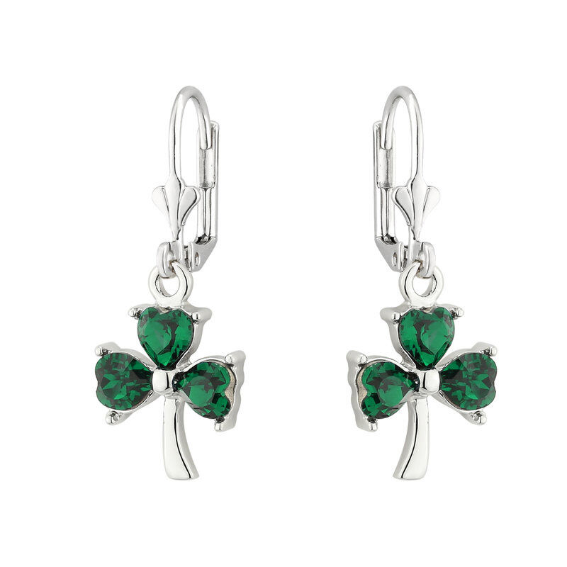 Rhodium Plated Shamrock Drop Earrings With Green Leaves