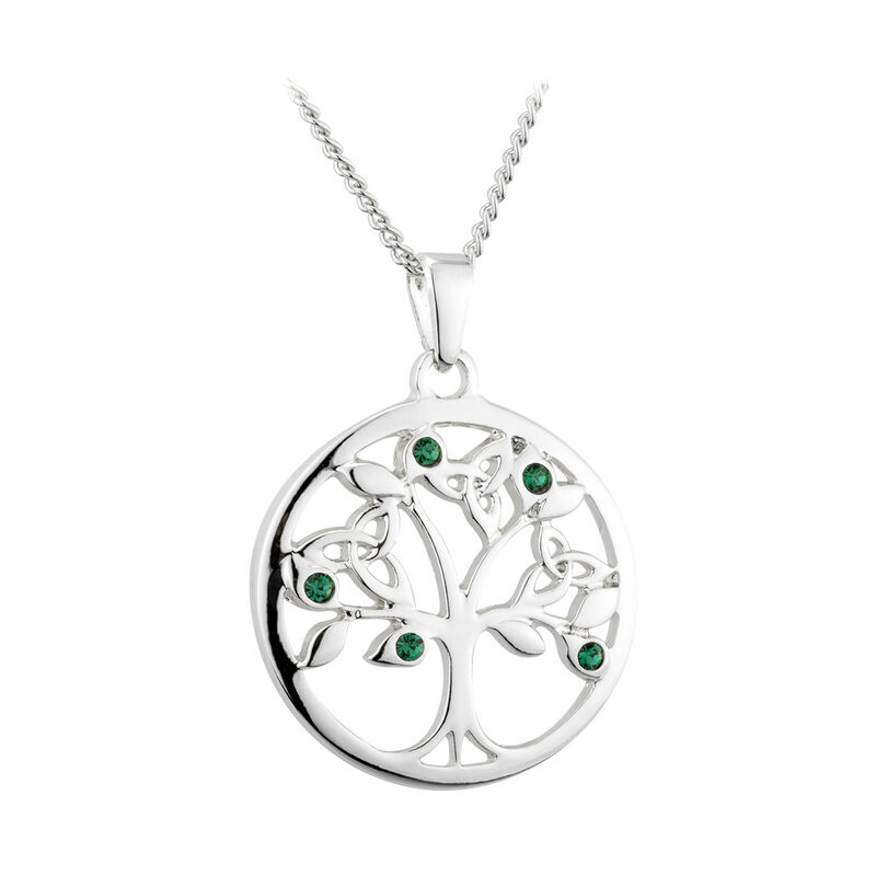 Rhodium Plated Tree Of Life Pendant With Trinity Knot And Green Crystal Leaves