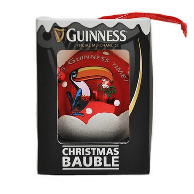 Kunststoff Christbaumkugel mit Guinness Tukan Design in rot