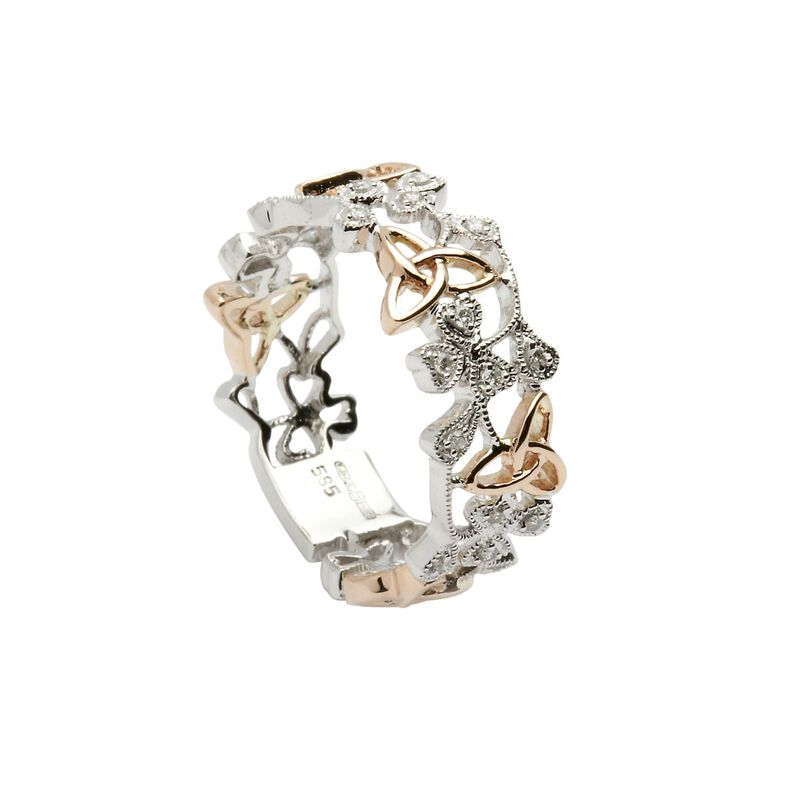 Hallmarked Sterling Silver and Rose Plated Shamrock and Trinity Design Ring