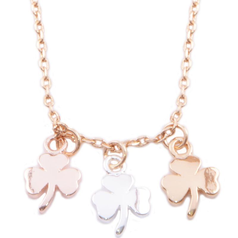 Gold Silver and Rose Gold Plated 3 Shamrock Pendant