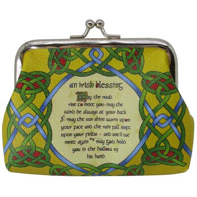 Clip Purse With Irish Weave And An Irish Blessing Design