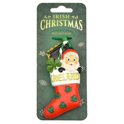Irish Christmas Hanging Decoration With Santa In Stocking Design