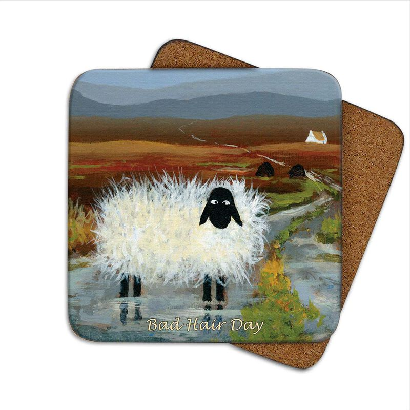 Irish Designed Coaster With A Sheep Out In The Wind Cold Country Wheater With The Text 'Bad Hair Day'