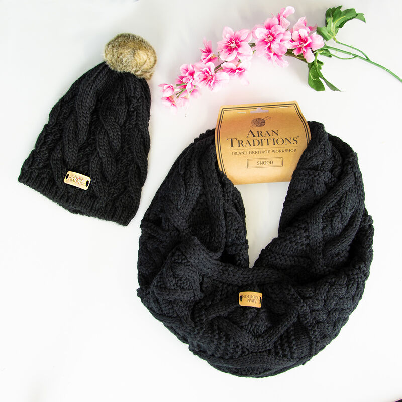 Aran Traditions Knitted Snood & Tammy Hat Set, Black Colour
