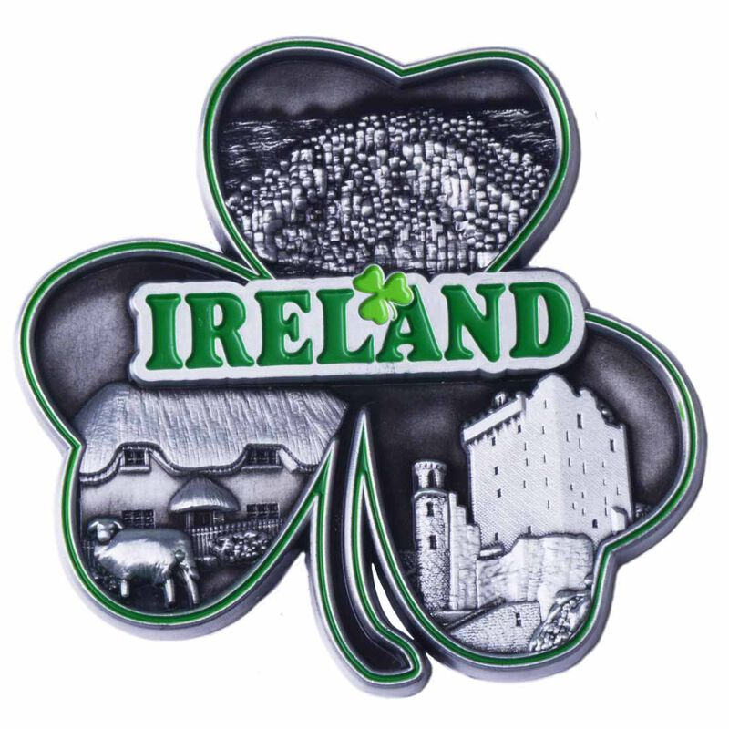 Metal Grey Shamrock Designed Magnet With Green Trim And Images Of Ireland