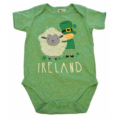 Funny Baby Vest With Cute Leprechaun And Sheep Design  Green Colour