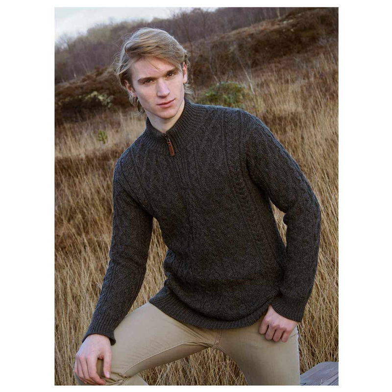 Zip Neck Aran Sweater Charcoal
