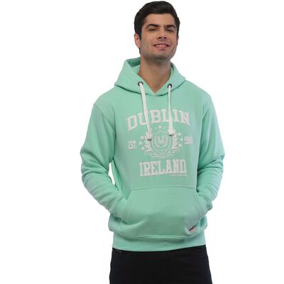 Pullover Hoodie With Dublin Ireland Est 988 Print  Mist Green Colour