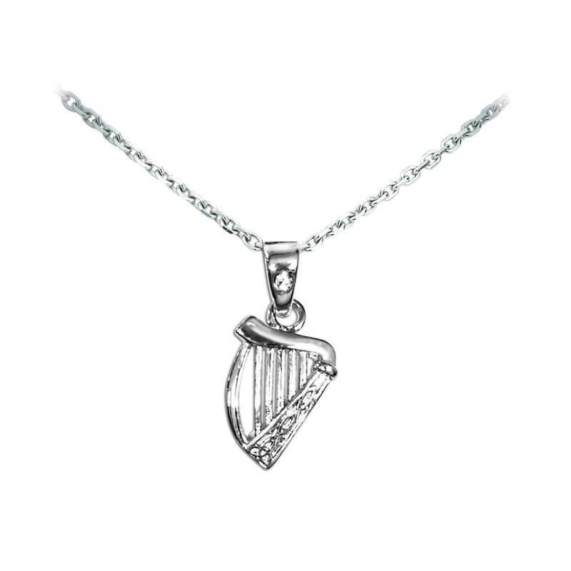 Silver Plated Celtic Collection Pendant with Irish Harp and Diamante Loop