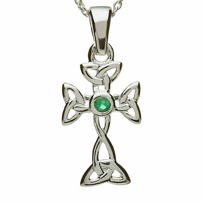 Hallmarked Sterling Silver Pendant Trinity Knot Cross Design And Green Centre