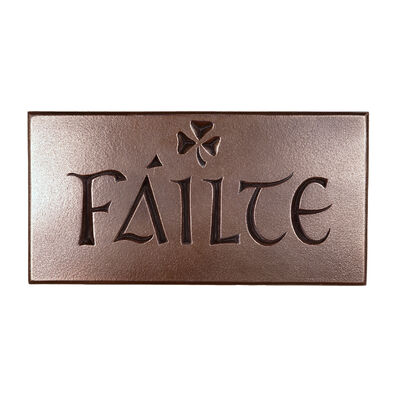 Hand Crafted Bronze Plaque With Fáilte And Shamrock Design