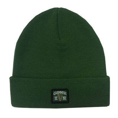Guinness Woven Knitted Beanie Turnup Hat Made By Recycled Plastic Bottles, Bottle Green Colour