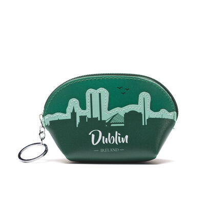 Green Leather Dublin Skyline Designed Purse In Clamshell Shape