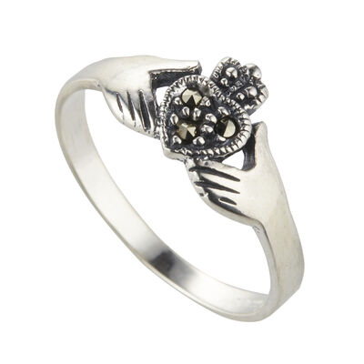 Hallmarked Sterling Silver Claddagh Ring, Presented In A Box