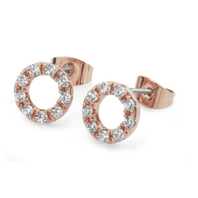 Tipperary Crystal Rose Gold Plated Forever Moon Earrings, Comes With Gift Box