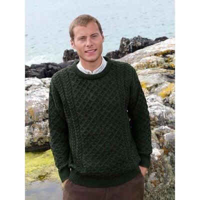 100% Merino Wool Crew Neck Sweater, Green Colour