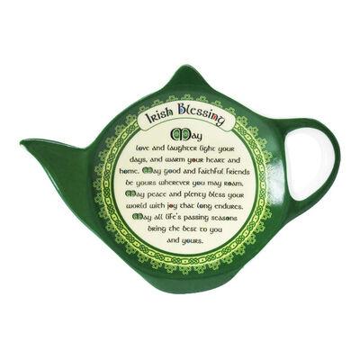 New Bone China Teabag Holder With Irish Blessing  8Cmx11Cm