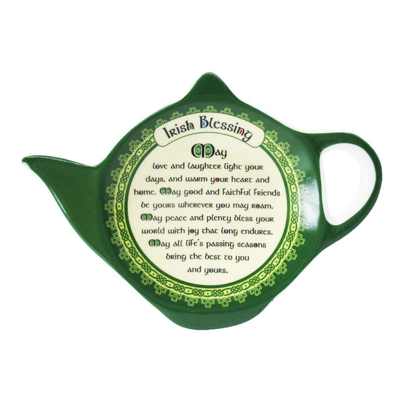 New Bone China Teabag Holder With Irish Blessing  8Cmx11Cm