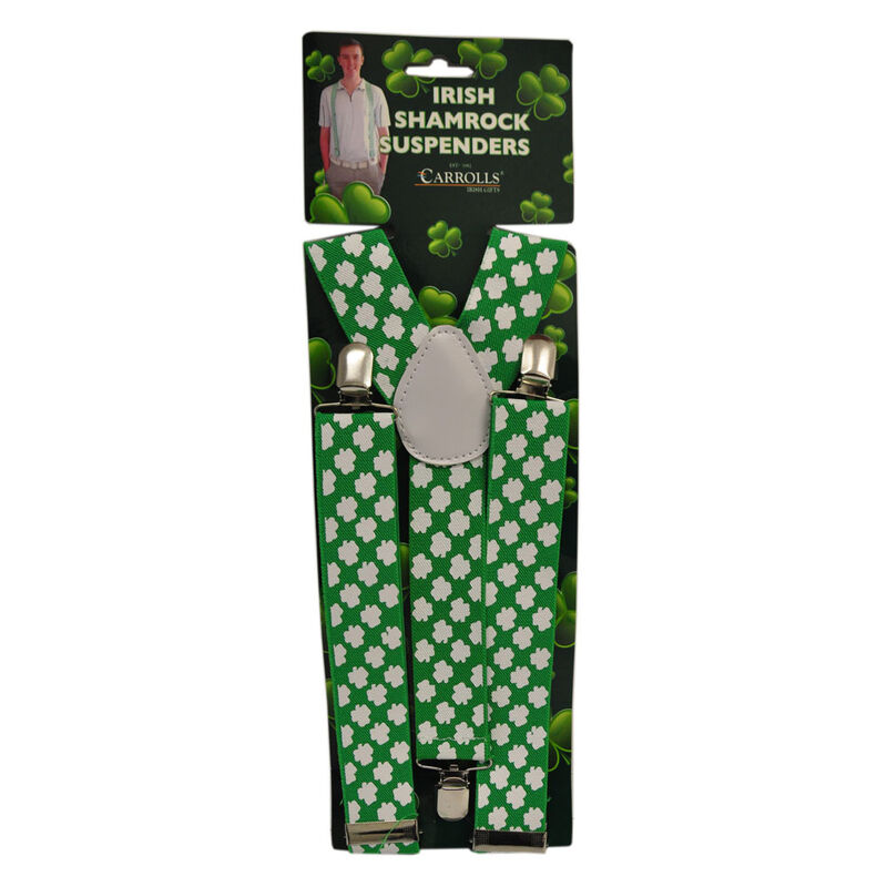 Green Suspenders With White Shamrocks