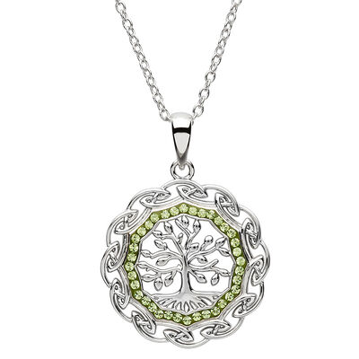 Platinum Plated Tree Of Life Pendant With Clear And Peridot Swarovski Crystals
