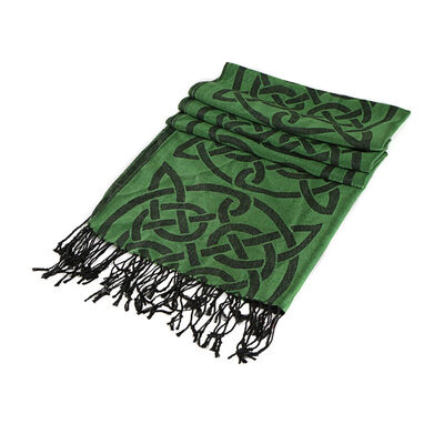 Celtic Ore Crafts Irish Traditional Pashmina Scarf Dark Green Colour