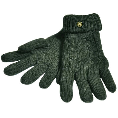 Man Of Aran Cable Knit Gloves With Embossed Metal Shamrock  Olive Green Colour